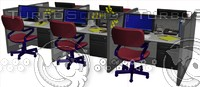3d cubicle workstation desk model