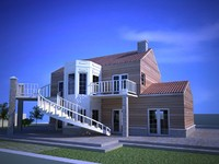 american style house 3d model