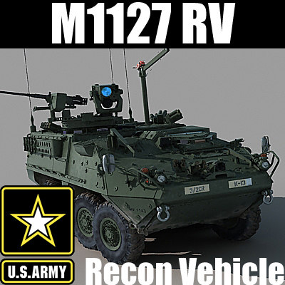 US Army M1127 Reconnaissance Vehicle Stryker RV (with detailed interior) MAX OBJ