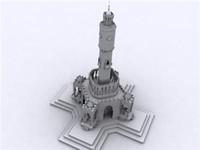 3d model izmir saat kulesi