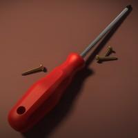 screwdriver screw 3d obj
