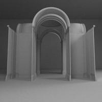 3dsmax church arches hall