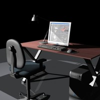 3d computer workstation model