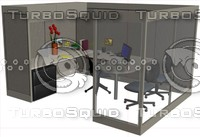 3d executive cubicle desk model