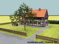 3d old german half-timbered house model