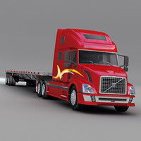 Semi Truck with flatbed trailer 02