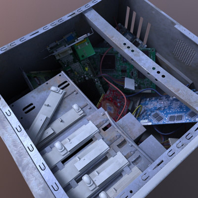 3d model of ruined pc case - Case destroy... by FraP