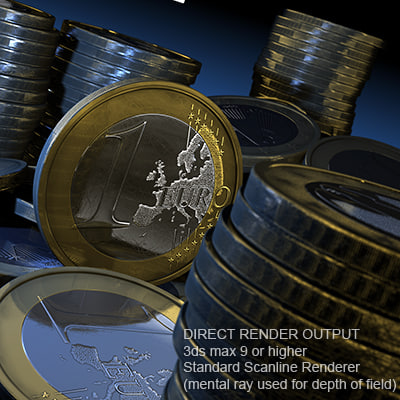 one-euro coin euro 3d model - One-Euro Coin... by JohannesSchloerb