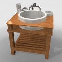 wood bathroom basin c4d