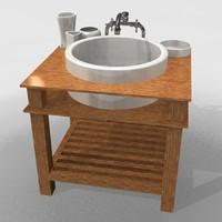 wood bathroom basin c4d