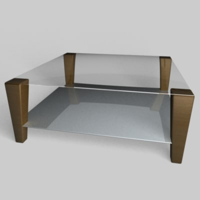 Modern Glass Top Cocktail Coffee Table C4d