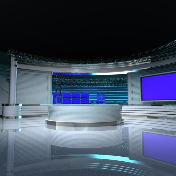 Virtual tv studio set 3d model virtual tv studio set 4 by