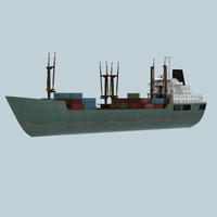 coastal freighter ship 3d model
