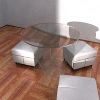 3d glass table stool