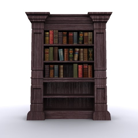 Antique Bookshelf with Books 600 x 600