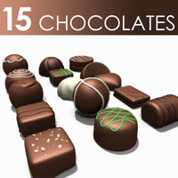 3d c4d 15 chocolate pieces