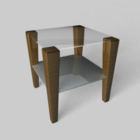 3d c4d modern glass-top end table