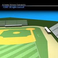 3d c4d baseball field
