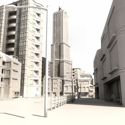 city buildings street 3d model - HD_CityClean_St02_Multi... by ES3DStudios