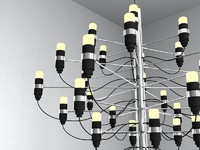 3d model modern chrome chandelier