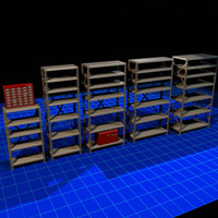 metal shelves 01 3d max