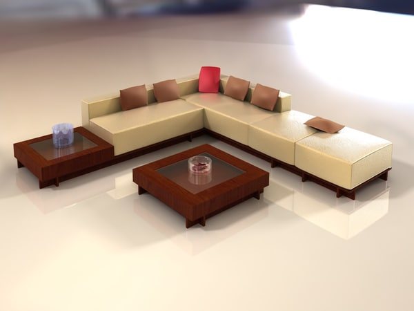 3d sectional sofa model for Center table design for sofa