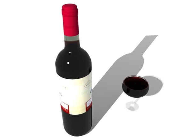 bottle wine glass c4d - red wine-vray... by 3d_addict