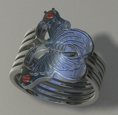 Womans ruby ring. Butterfly ring.rar