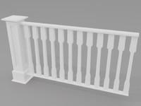 handrail railing 3d max