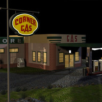 Corner Gas Station & Road Sign 01