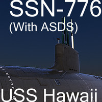 uss hawaii attack submarine 3d model