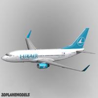 3d b737-700 luxair 737 model