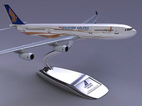 3d airbus a340-300 singapore airlines model