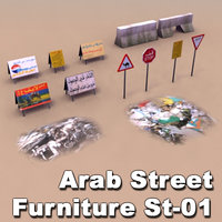 arab street city signs 3d model