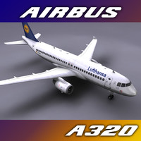 3d model of airbus a320 lufthansa