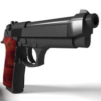 3d model beretta 92 handgun 92f