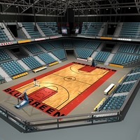 3d basketball arena courts ball model