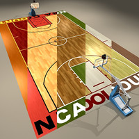 3d basketball courts ball model