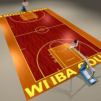 3d model women basketball court ball