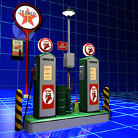 gas pump island road sign 3ds