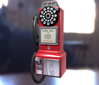3d model vintage coin payphone