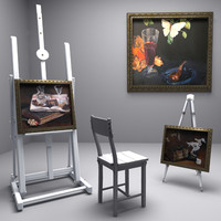 3ds max painters easel picture paintings