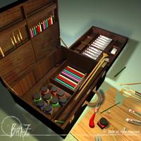 artist suitcase 3d 3ds