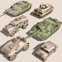 army-armored vehicle-set armored 3ds