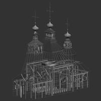 3d max white church architecture building