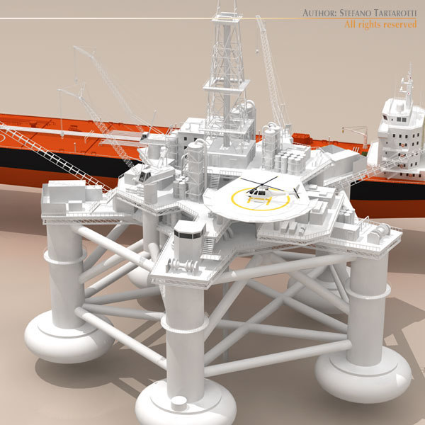 3ds max oil platform tanker ship - Oil platform with tankership... by tartino