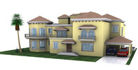 spanish villa house building 3d model
