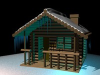free 3ds model snow log cabin