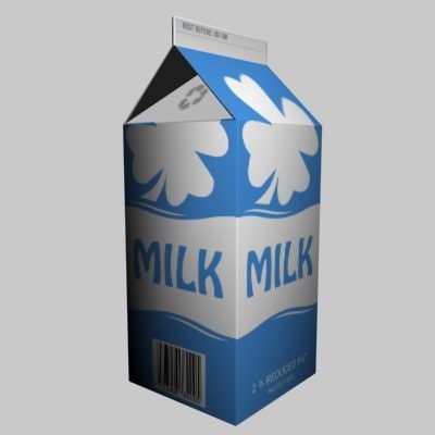 Open Milk Carton Milk carton 3d model