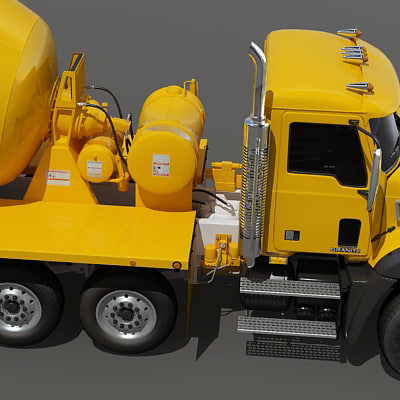 concrete mixer truck engine 3d model - Concrete mixer truck... by Alexart247